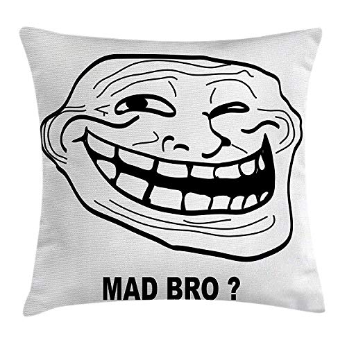 Humor Decor Throw Pillow Cushion Cover, Cartoon Style Troll Face Guy for Annoying Popular Artful Internet Meme Design, Decorative Square Accent Pillow Case, 18 X 18 Inches, Black White Guy White Hat