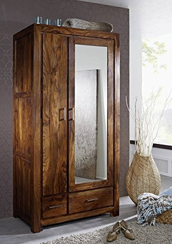 MASSIVMOEBEL24.DE Lackiert Palisander Holz Möbel Garderobe Massivmöbel Life Honey Sheesham Metro Life #165