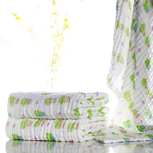 Lucear Muslin 105*105 Warme Babydecke/Badetuch für Neugeborenes Baby(Grün)
