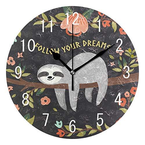 (Domoko Home Decor Follow Your Dreams Zitate Blume Acryl Rund Faultier auf Baum Wanduhr Geräuschlos Silent Uhr Kunst für Wohnzimmer Küche Schlafzimmer)