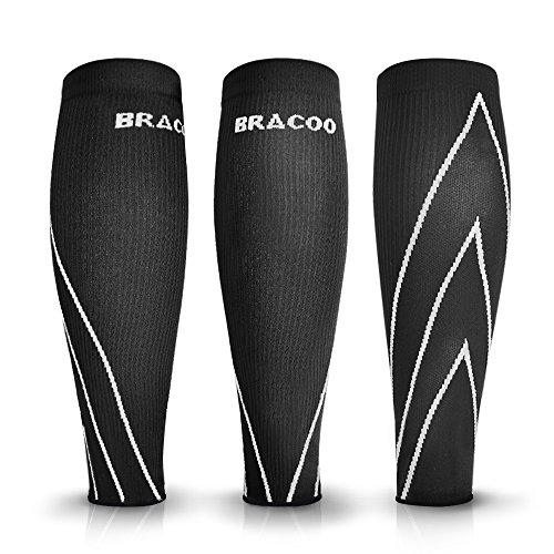 Bracoo Waden Kompressionsstulpen – Beinlinge – Wadenbandage – Wadenkompression | Laufstulpen ideal beim Sport wie Laufen und Radfahren | M | weiß