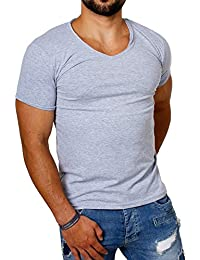 CARISMA Herren Uni Basic T-Shirt mit Tiefem V-Ausschnitt Einfarbig Slimfit Stretch Leicht Dehnbare Passform Dezenter Vintage Look Am Kragen