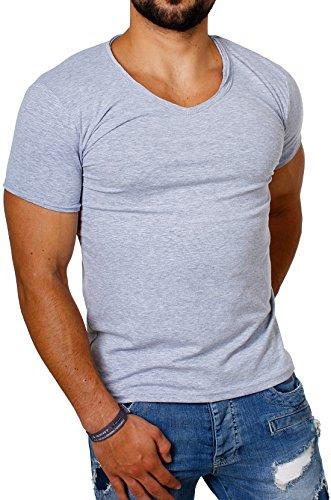 CARISMA Herren Uni Basic T-Shirt mit tiefem V-Ausschnitt Vintage Look Kragen Effekt einfarbig Dehnbare Passform, Grösse:M, Farbe:Grau -