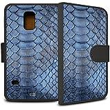 YOUNiiK Booklet Case Tasche (schwarz) für Samsung Galaxy S5 Mini - Blue Snake