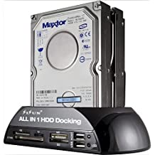 """SISUN Base de Conexión para Disco Duro - 2.5"""" / 3.5"""", USB 2.0, IDE / SATA + Lector de tarjetas (negro)"""