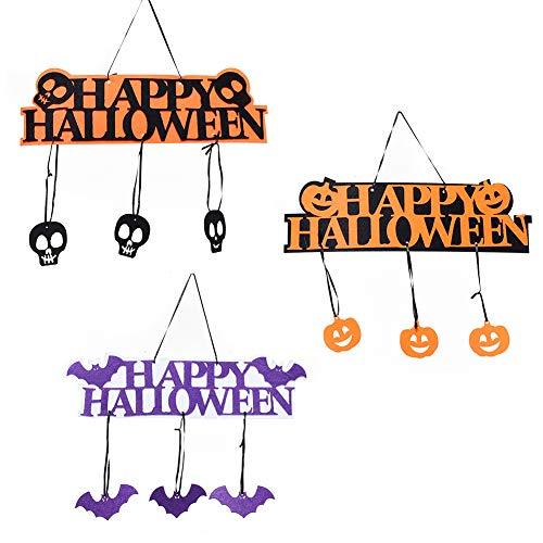 een Hanging Hangtag Kürbis Schädel Fledermaus Türschild Requisiten Fenster Dekor Für Halloween Haunted House Party EIN ()
