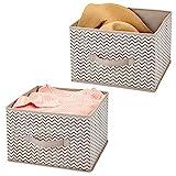 mDesign 2er-Set Aufbewahrungsbox aus Stoff – für Ordnung im Kleiderschrank – Stoffkiste für Kleidung, Decken, Accessoires und mehr – taupe/natur