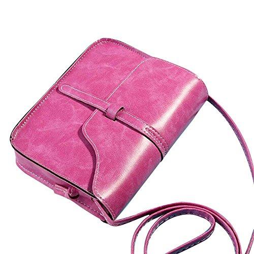 Moonuy Rétro Sac à main Vintage Sac à bandoulière en cuir Cross Body Bag Vintage Mini Simple Diagonal Noir Cuir Artificiel Sac Bandoulière Portefeuille Leather Shoulder Bags Handbag (Rose vif)