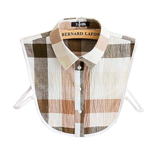 Fashion Cotton Plaid Shirt Abnehmbare Kragen gefälschte Kragen Halbes Hemd Unique Halsbänder für Frauen (Weiß Shirt Plaid Cotton)
