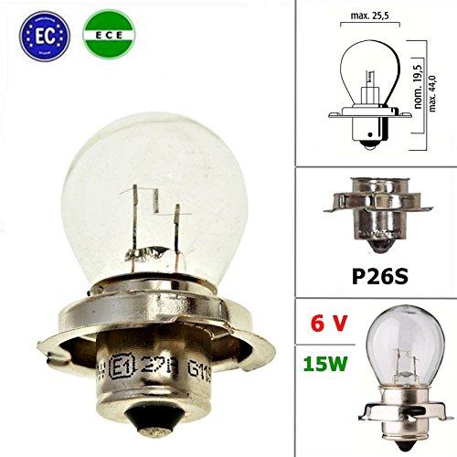 6V Qualitäts Glühlampe Lampe mit E-Zeichen - 15W - P26S