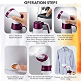 Inalsa Garment Steamer Handy Steam-600W, Automatic Continuous Steam & Detachable Fabric Brush, Instant Wrinkle Remover,Large 120ml Capacity &Dry Run Protection, Safe&Gentle on all Fabrics,(White/Purple)