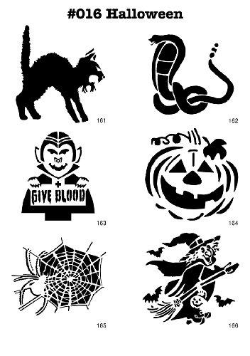 UNLIMITED STENCILS 6 Airbrush-Schablonen MYLAR #016 Halloween