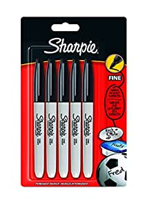 Sharpie Fine Point Permanent Marker, Black, Pack of 5 (Packaging May Vary)