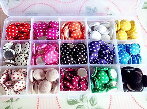 Runde Stoff-Knöpfe, gepunktet, 15 mm, verschiedene Farben, in Geschenkbox, 225 Stück