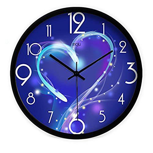 Jizhi Wall Clock-Modern Colorful Mute Wall Clock Home Office Decor Geschenk Für Küche Wohnzimmer Schlafzimmer Blue Bulleetin/14 Zoll Stahl Black Paint Border