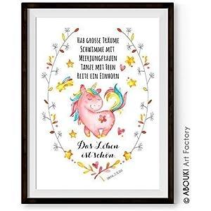 ABOUKI personalisierbarer Kunstdruck Kinder Poster - ungerahmt - Einhorn, Einhörner, Unicorn, Kinderzimmer Bild mit Einhorn Motiv