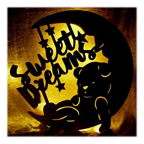 """Schlummerlicht24 Nachtlicht""""Süße Träume"""", Geschenk mit individuellem Namen, ideal als Geburts- oder Taufgeschenk für das Kinderzimmer, handgemacht"""