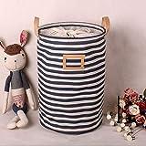 Addfun®Prämie Stoff Faltbare Runden Wäschekorb,Gestreift Kleider Wäschekorb Kinder Spielzeug Lagerung Halter mit Lids(Blaue Streifen)
