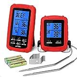 Yissvic Grillthermometer BBQ Thermometer Digital Grillthermometer Funk mit 2 Temperaturfühlern für BBQ Ofen und Grills MEHRWEG