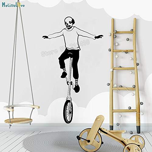 fkleber Netter Clown Mit Einrad Aufkleber Vinyl Wohnkultur Für Wohnzimmer Schlafzimmer Selbstklebende Kunstwand schwarz 68x117 cm ()