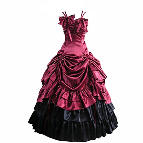 Partiss Robe Lolita gothique victorienne sans manches en satin Winered