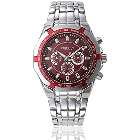 pkaty da uomo Sport esterni, analogico al quarzo in acciaio inox da polso orologio rosso