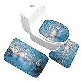 Gnzoe Flanell Teppich/Toilettenmatte-Set Glas EIS Blumen Muster Design Teppiche für Wohnzimmer Schlafzimmer Blau 60x40CM