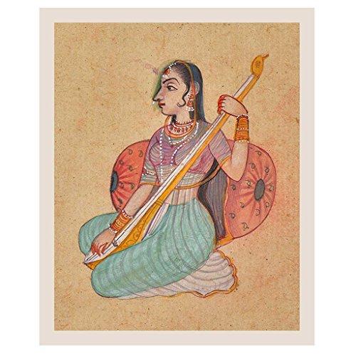 Indisches Regal Handgemachtes Papiergemälde Einer Rajasthani Lady spielt Tambura Malerei/Mughal Art PT-241