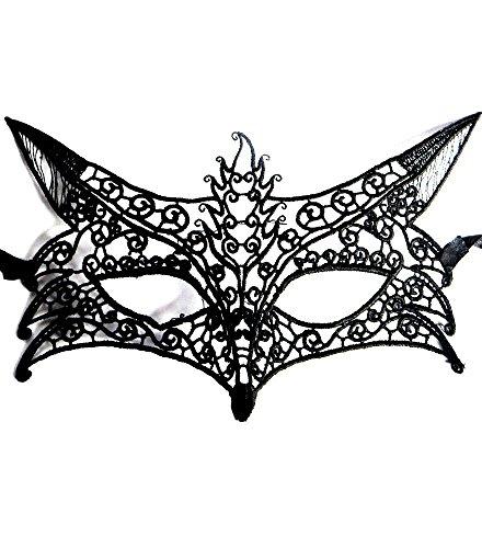 Inception Pro Infinite Maske für Kostüm - Verkleidung - Karneval - Halloween - Katze - Venetian - Macramé - Schwarze Farbe - Erwachsene - Frau - Mädchen