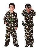 Talla L - 7-9 años - Traje - Disfraz - Carnaval - Halloween - Asalto de camuflaje - Soldado - Militar - Ejército - Marrón - Niño