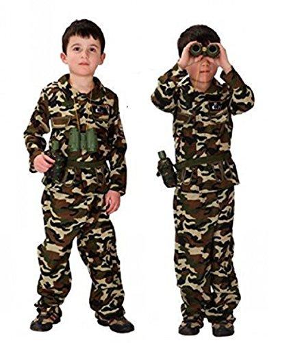 11 Jahre - Kostüm Verkleidung Karneval und Halloween von Mimetisch von Angriff Soldat Militär Armee Farbe Braun männliches Kind (Militär Themen Kostüme)