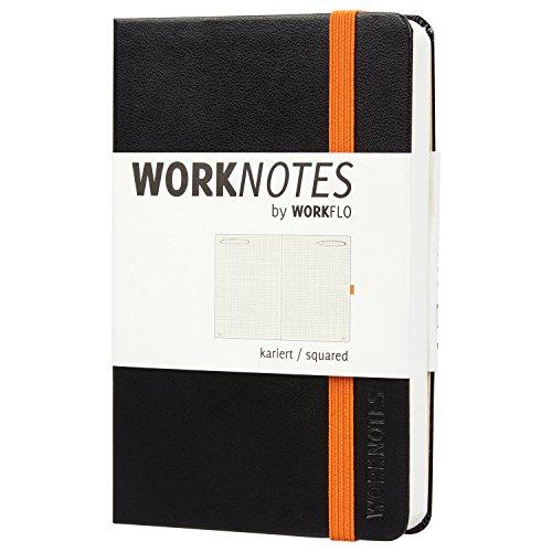 Worknotes Notizbuch a6 kariert - Das Notizbuch für Kreative und Macher von Workflo, 192 perforierte Seiten, 100g/qm, Hardcover, schwarz