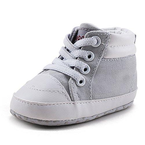 DELEBAO Baby Stiefel Schuhe Warme Babyschuhe Sneakers Schneestiefel Turnschuhe Lauflernschuhe Krabbelschuhe Weiche Sohle Hoch Oben für Kinder Mädchen Jungen (Hellgrau,6-9 Monate) (Baby Stiefel Weiche)