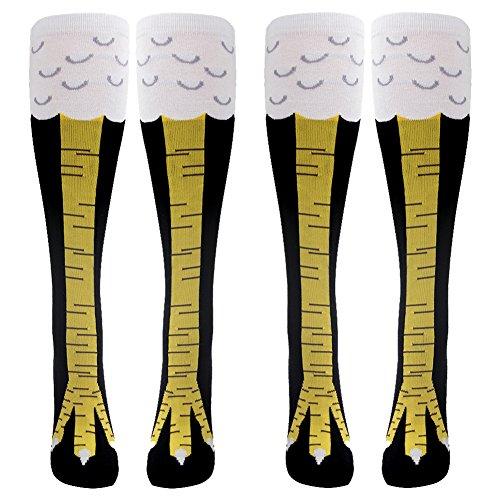 2 Paar lustige Socken Laufsocken Fußballsocken Kniestrümpfe von Gmark mit schlank Hühnerfüße Muster,EU 37-41