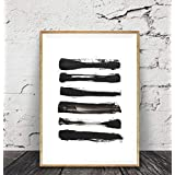 Brush Stroke Print, Black And White Abstract Wall Art, Framed Art, Modern Minimal Ink Painting, Home Decor, Simple Design