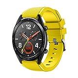 Correa Deportiva de Silicona,Reemplazo de Correa de muñeca de Reloj de Silicona para Huawei Watch GT Smart Watch 22mm  (Amarillo)