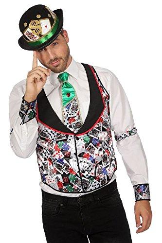 TH-MP Casino Spielkarten Poker Kostüm Fasching Karneval Mottoparty Herrenkostüm Damenkostüm (Casino Herrenweste, 50) (Poker Face Kostüm)