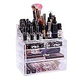 Super Grande Organizador para Cosméticos, ISENPENK Organizador de Maquillaje de Material Acrílico con 4 Cajones, Caja de Cosméticos Transpante 2 en 1, 24 x 31 x 14 cm para Cosmético Joyas Pendientes