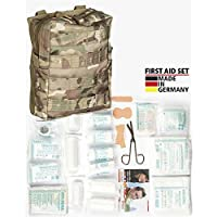 M.T.P camouflage first aid kit and contents, molle fixings,