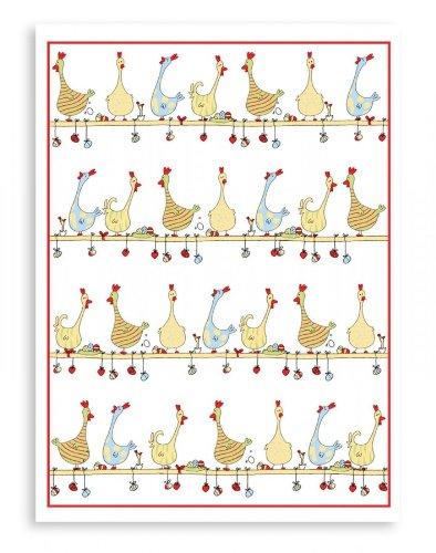 Reduziert: Kracht - Geschirrtücher für Ostern, aus Halbleinen; Hühner auf der Stange; 2er Pack, 50x70 cm