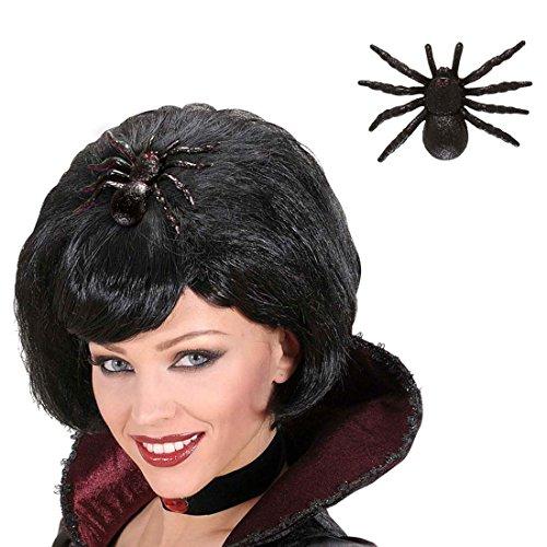 NET TOYS Spinnen Haarspange Hexen Haarschmuck Schwarze Witwe Haarklammer Gothic Haar Clip Glitter Brosche Halloween Kostüm Accessoire (Spinne Halloween-kostüme Witwe Schwarze)