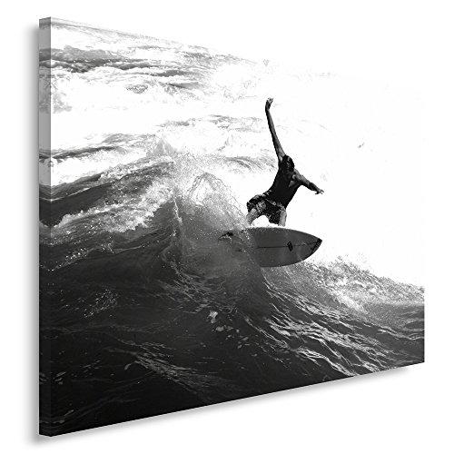 Feeby Frames, Leinwandbild, Bilder, Wand Bild, Wandbilder, Kunstdruck 80x120cm, SURFER, WELLE, SCHWARZ UND WEIß
