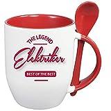 Sprüche Tasse Kaffee macht schön + Löffelbecher Rot BEST OF THE BEST ELEKTRIKER. 2 Tassen ein Preis. Siehe Produktbild 2.