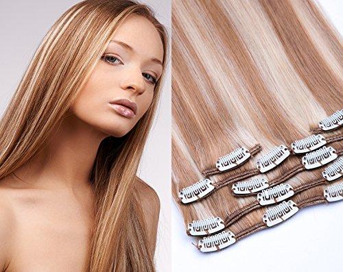 GlamXtensions Clip In Extensions Set für komplette Haarverlängerung 100% Remy Echthaar 7 teilig 80g hochwertigeres Remy Haar 40 cm in der Haarfarbe 800 Gesträhnt 18/613 Dunkelblond-Hellichtblond