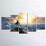 Impressions sur Toile 5 pièces Légende de Zelda Breath Posters HD Moderne Art Mural Accueil Décorations,A,30×40×2+30×60×2+30×80×1