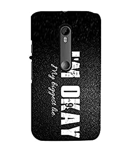 For Motorola Moto G Turbo Edition :: Virat FanBox Moto G Turbo Virat Kohli I'm okay my biggest lie, good quotes, black background Designer Printed High Quality Smooth Matte Protective Mobile Case Back Pouch Cover by APEX