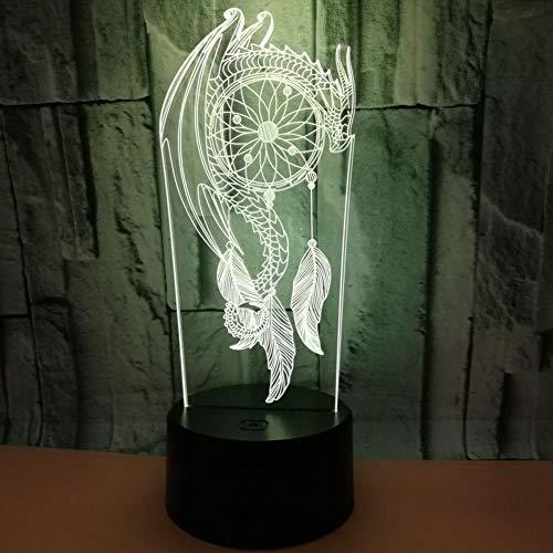 SXMXO 3D LED Carillons De Vent Lampe De Table Lampe Kid Touch Interrupteur Capteur De Rêves Forme Veilleuses Nuit USB Chambre Sommeil Éclairage Décor À La Maison,7colortouch+remotecontrol