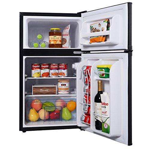 Costway Mini Kühlschrank mit Gefrierfach Kühl-Gefrier-KombinationAKühlteil 63LGefrierteil 27Lschwarz
