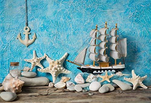 Cassisy 3x2m Vinile Mare Foto da Sfondo Tavole di legno blu Tema di vacanza Barca a vela Conchiglie Stella marina Fondali Fotografia Partito Photo Studio Puntelli Photo Booth
