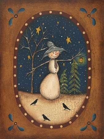 Feelingathome-Leinwand-Bild-Snowman-Lantern-cm77x57-Kunstdruck-auf-Leinwand